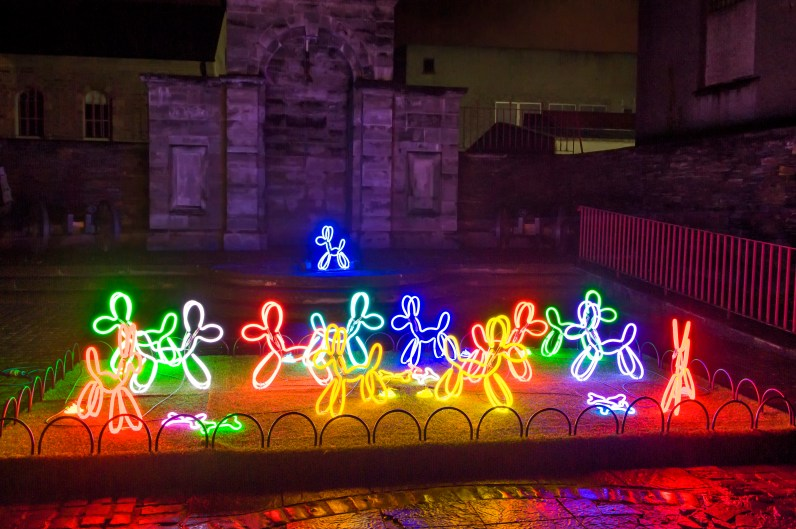 Lumiere London: Neon Dogs, Deepa Mann-Kler, Lumiere Derry~Londonderry, Produced by Artichoke, Commissioned by UK City of Culture 2013, Photo by Chris Hill