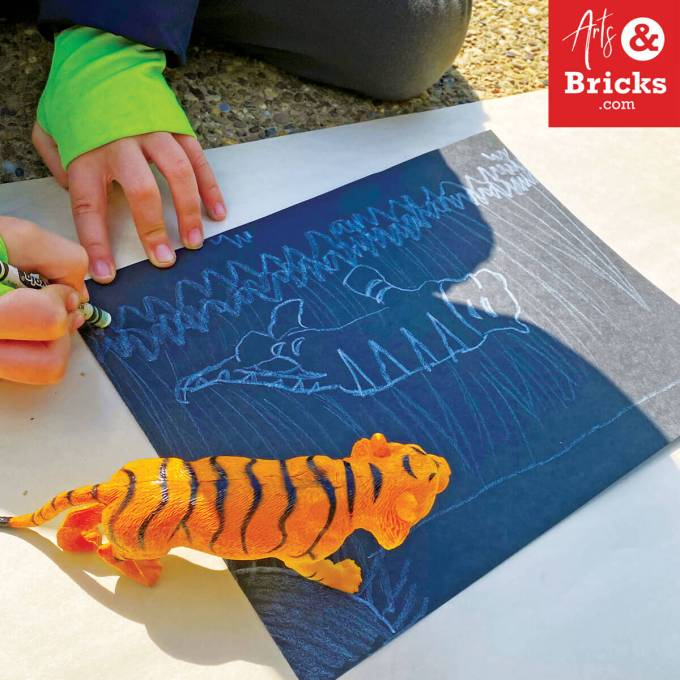 Draw an environment for your toy animal using shadow tracing outside.