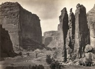 Timothy O'Sullivan, Panoramic view of tents and a camp identified as Camp Beauty, rock towers and canyon walls in Canyon de Chelly National Monument, Arizona (1873)