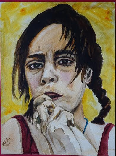 "-title: Roma Girl - size: 9""x 11"" or 23 cm x 28 cm -media: watercolour on watercolour paper -year: 2009 -description: a portrait of an anxious, sad Romani Girl -comment: 2nd Prize Winner of the City of Toronto Frankly Bob Award, 2009"