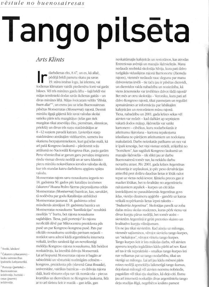 Tango pilsēta: Vēstule no Buenosairesas (1/4)