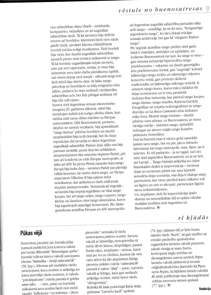 Tango pilsēta: Vēstule no Buenosairesas (4/4)