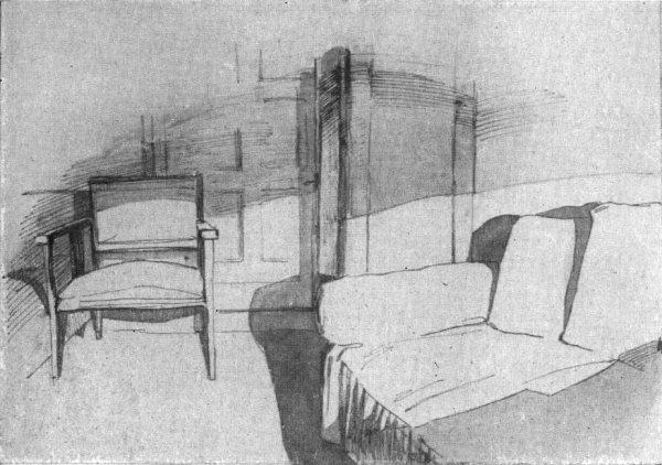 3. Рисунок части комнаты с мебелью. Кисть, перо