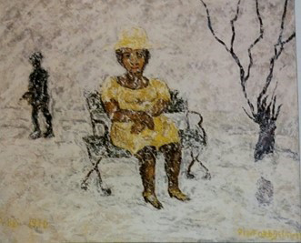 Beauford Delaney, She Ain't Getting Up, Mrs. Parks, 1970, Oil on canvas,  Collection of Etienne Boillot All images © Estate of Beauford Delaney by permission of Derek L. Spratley, Esquire, Court Appointed Administrator