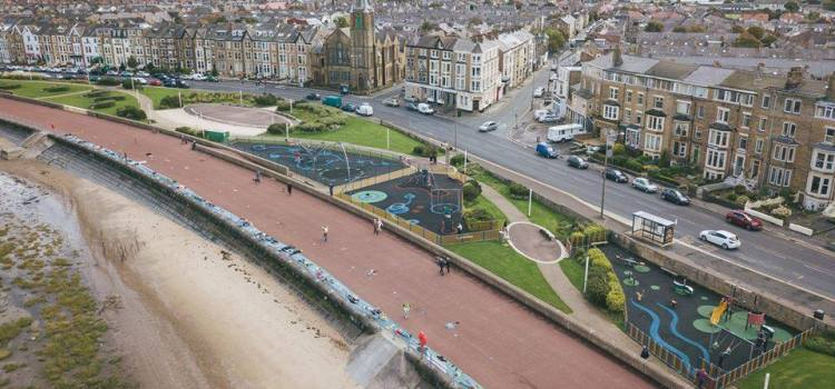 aeriel view of the West End of Morecambe