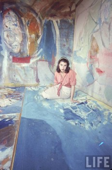 """Helen Frankenthaler in her New York City studio Photographed by Gordon Parks, 1956. Published in May 1957 Issue of Life in the spread headlined """"Women Artists in Ascendance"""""""