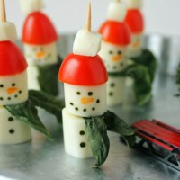 String Cheese Snowman Caprese Salad Appetizer Recipe