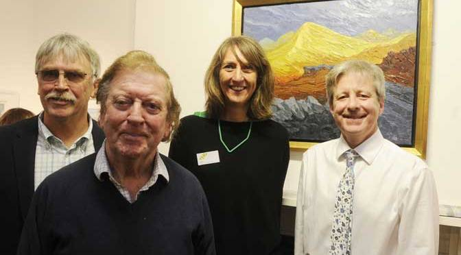 Exhibition launch. From Left to Right: Phil Creek (chair of Trustees of SWAc), Alan Cotton (exhibiting artist0, Angela Blackwell (THG curator), and Phil Norrey (chief executive, Devon County Council)