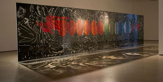 Paper Dragon: Xiaoguang Qiao, Fish and Dragon Change, 190 x 900cm, Copyright, Jersey Arts Trust.