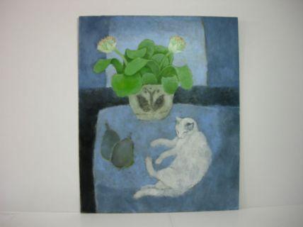 Sheila Stafford - Paintbrush paint and sleepy cat