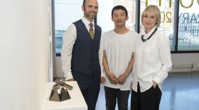 Pictured (L-R) are James Edgar (Artmill Gallery & Framing Centre), Kazuya Tsuji (winning artist of the Plymouth Contemporary Award) and Isabell Peirson (Artmill Gallery and Framing Centre)