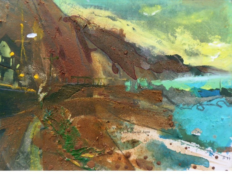 ESPLANADE FOIL AT DAWN-SIDMOUTH gouache, collage, Mercia Mudstone, Otter Sandstone on card. 15x20cm.