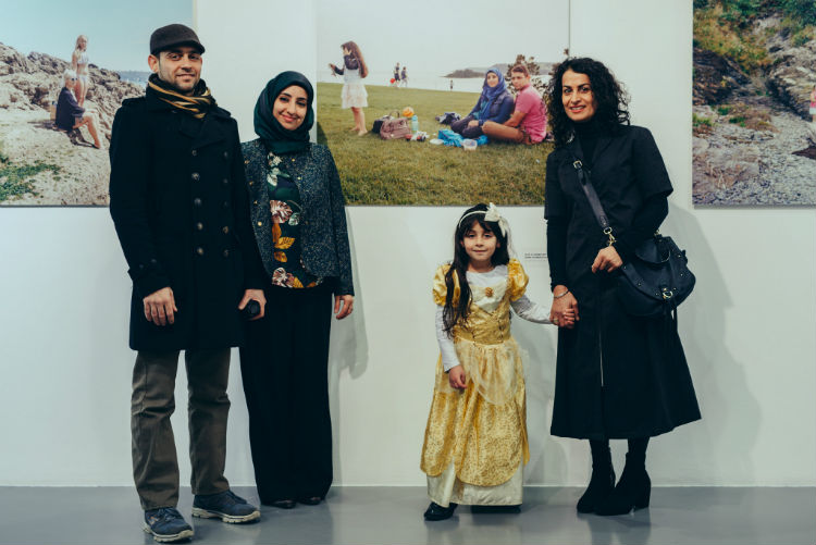 Suki Dhanda with Elaf Yaseen and daughter at the launch of Race Place and Diversity by the Seaside in The Gallery at Plymouth College of Art