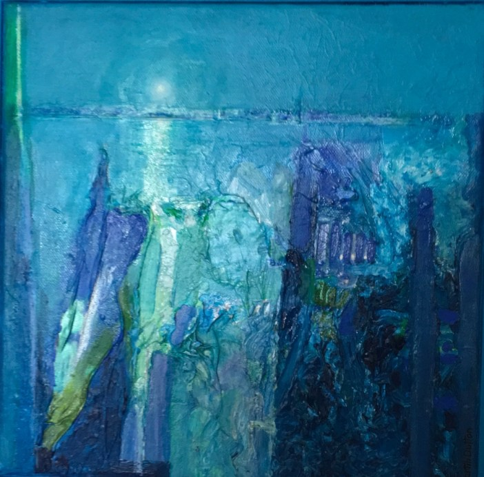 textured blue with tints of green abstract painting by Martin Dutton