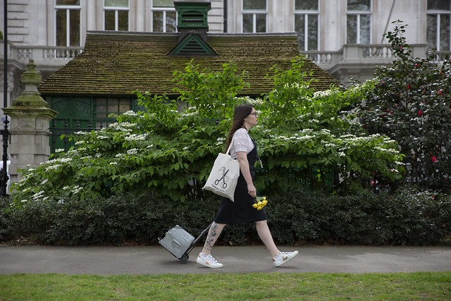 Sarah Corbett is walking in a park trailing her silver craft case with a craftivist collective tote bag on her shoulder holding a bunch of daffodils