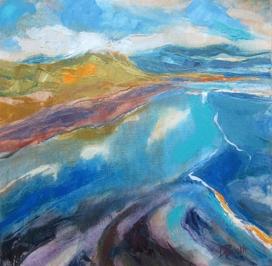 shades of blue lead into coloured landscape