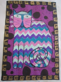 Oil pastel cat with painted border