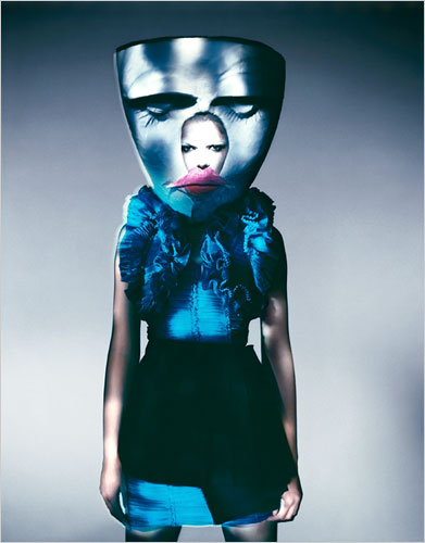 """""""Blue Mask, Paris, 2007,"""" by Paolo Roversi at the Weird Beauty exhibition"""