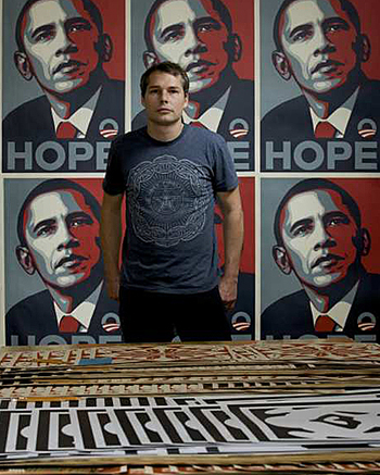 The artist in front of his famous poster that defined the 2008 election