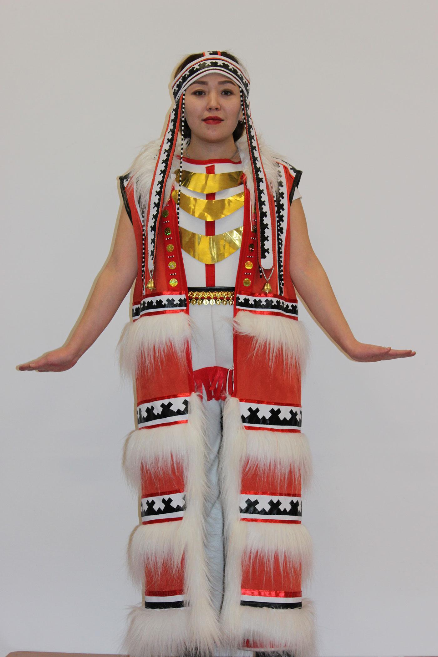 Нганасанский комбинированный костюм. 2019год. Сукно, бисер, кожа, иск.мех, метелл
