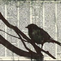 Autumn - ink drawing on recycled book pages