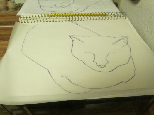 I traced on the backside of the tracing paper with a silver quilting pencil.