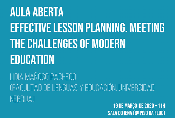 "Aula Aberta ""Effective Lesson Planning. Meeting The Challenges Of Modern Education"" – Agenda UC"