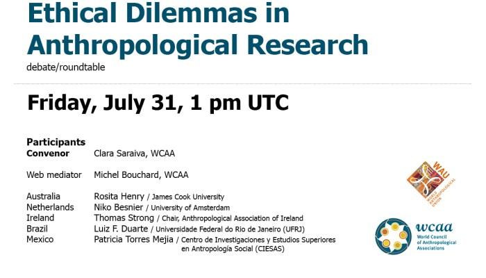 Divulgamos – 31 July, 2 P.m. (Lisbon)  Ethical Dilemmas In Anthropological Resea…