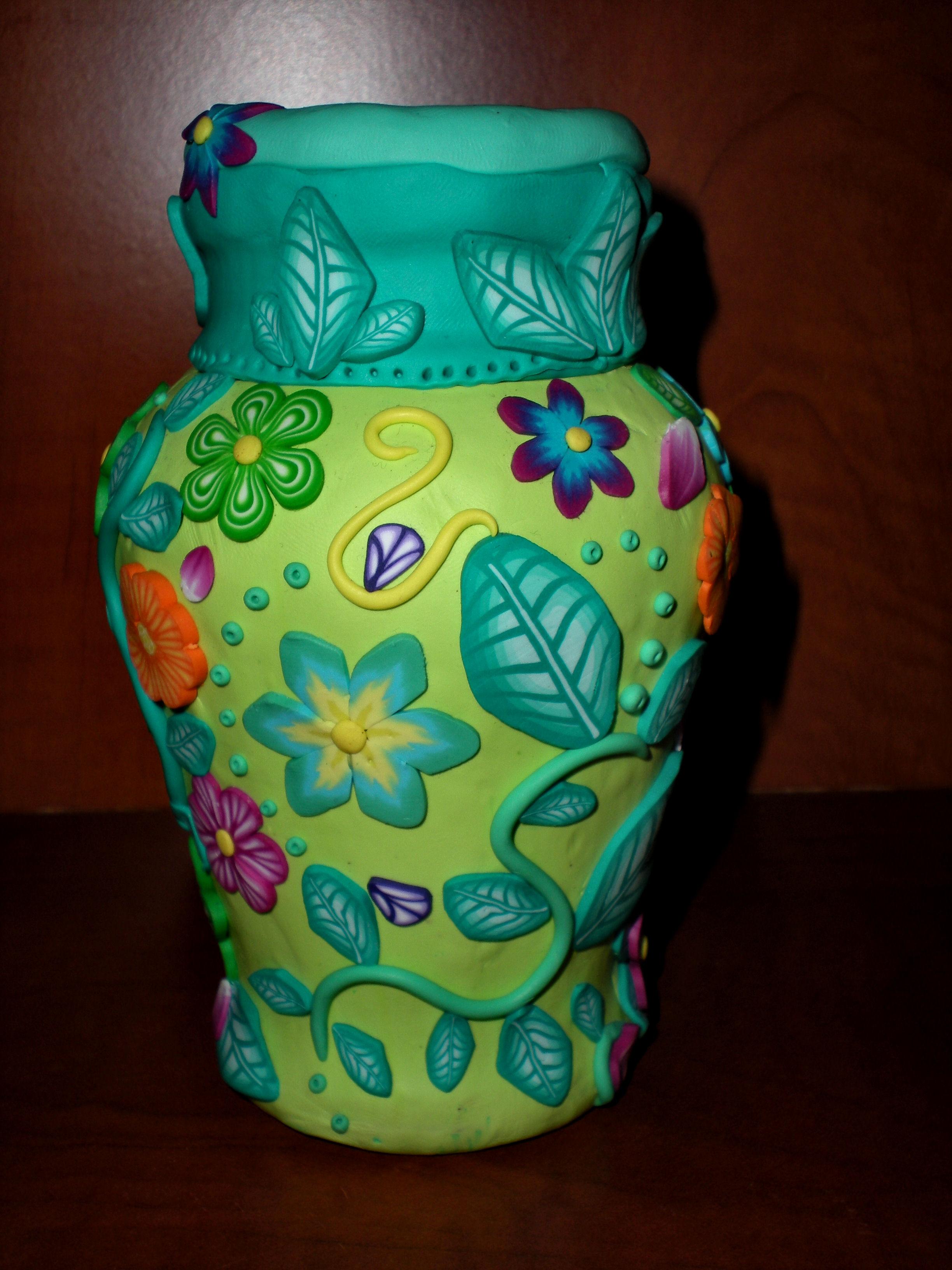 Handmade Polymer Clay Covered Vase Mini Art Gallery