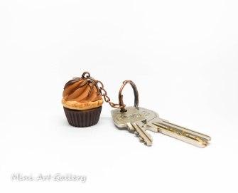 Chocolate praline scented / brown cupcake keychain / mini food cupcake charm / fimo polymer clay