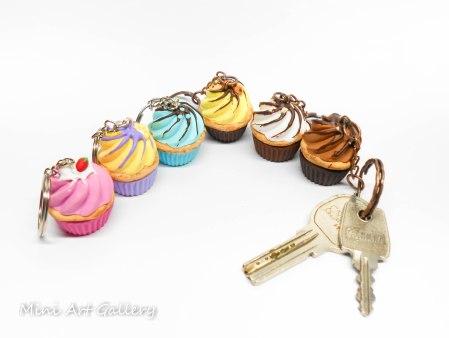 cupcake keychain / mini food cupcake charm / fimo polymer clay