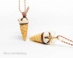 ice-cream necklace / sundae cone ice cream / chocolate - vanilla cornetto / kawaii miniature food jewelry fimo mini food / handmade polymer clay pendant