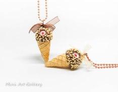 ice-cream drumstick nestle necklace / sundae cone ice cream / chocolate - vanilla / kawaii miniature food jewelry fimo mini food / handmade polymer clay pendant