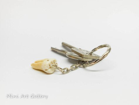 Human Tooth earring, replica / Necklace, keychain, charm 3 root canals / realistic decayed fake molar scary macabre oddity / polymer clay keychain keyring / curiosity dental dentist gift