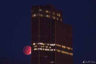 Credit: Matt Pollock Astrophotographer Matt Pollock sent in a photo of the lunar eclipse seen next to the Corning Tower in Albany, New York, taken Oct. 8, 2014.