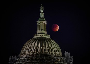Credit: Caroline Angelo Astrophotographer Caroline Angelo sent in a photo of the Oct. 8, 2014, lunar eclipse as seen from east side of the U.S. Capitol in Washington, DC.