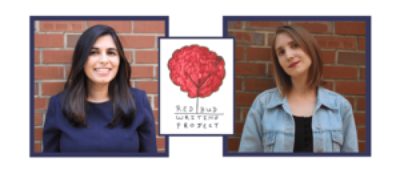 Redbud Writing Project co-founders Arshia Simkin (left) and Emily Cataneo (right) with Redbud logo (center)