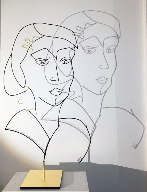 laure simoneau lor sculpture fil de fer ironwire shadow portraits