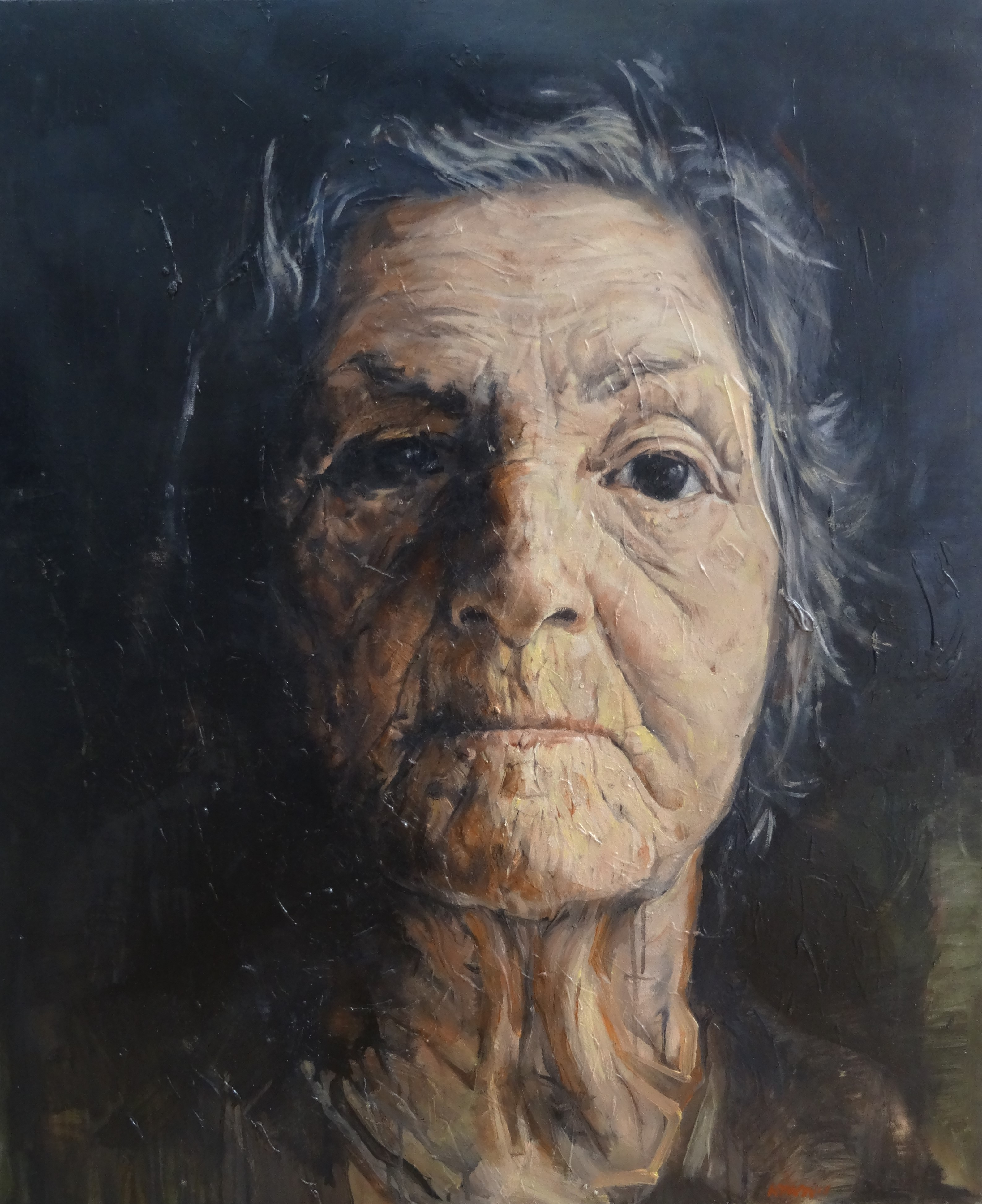 french painter nathan chantob exhibition women portrait for sale honfleur old lady