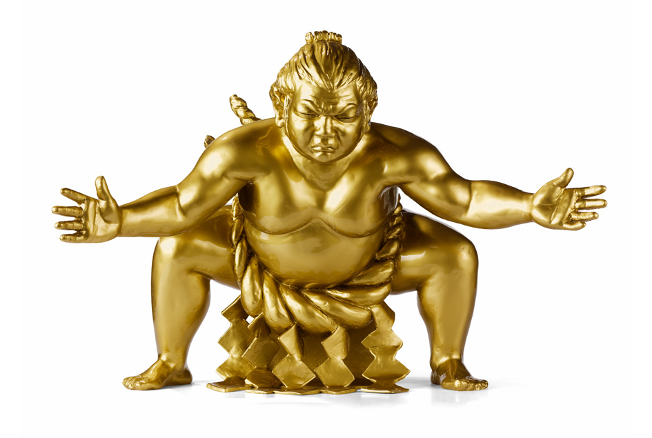 Golden bronze sumo sculpture by artist Alexandra Gestin for sale price on request