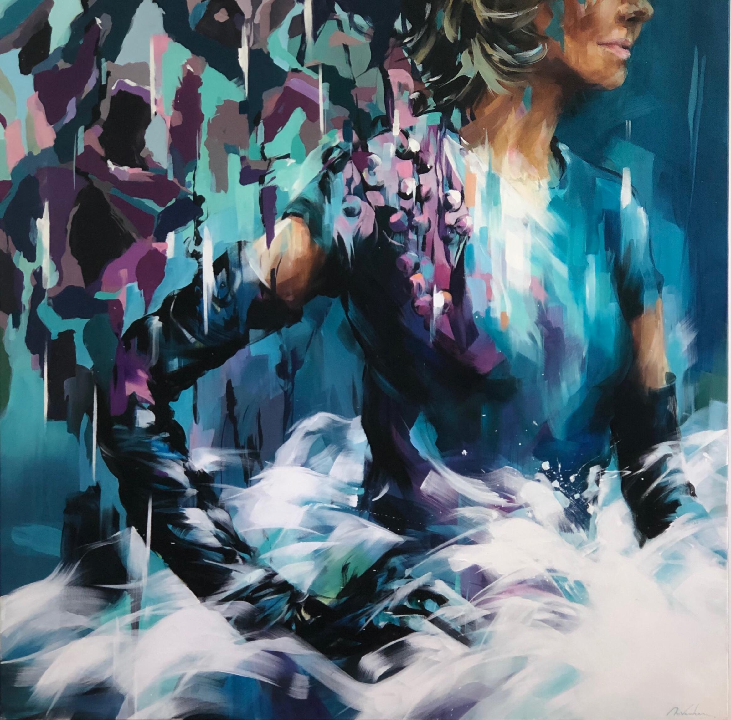 Range-of-Arts-Painting-Murielle-Vanhove-Elles-Turquoise-100x100cm