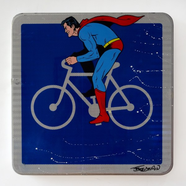 Thierry Beaudenon painting of superman on a bike