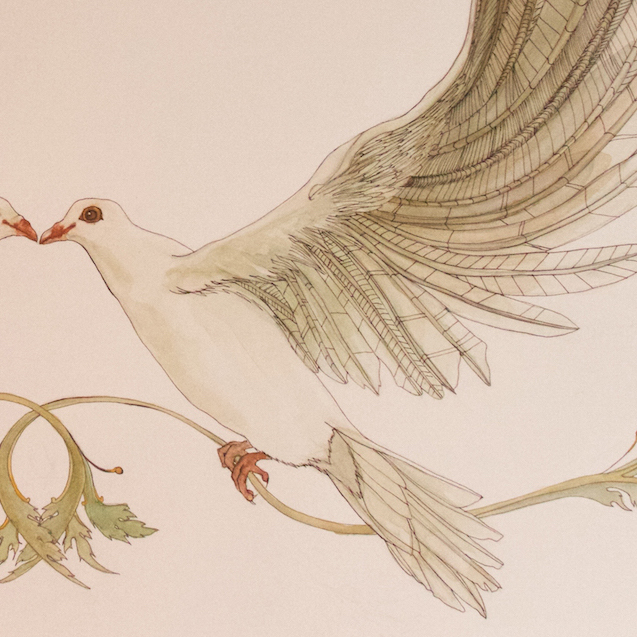 The Beloved Doves Ketubah is hand painted using high quality watercolors and inks. The two lovebirds intertwine to create a winged, romantic border for wedding vows in Hebrew or English. BelovedKetubah.com