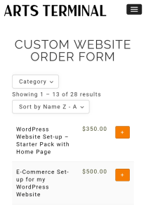 mobile view of optimized responsive web store