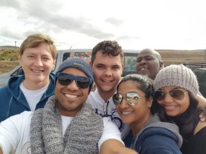 Clinton Marius, Rowin Munsamy, Riaan Timson, Sivani Chinappan, Bongani Mbatha and Shona Johnson on the road to Grahamstown