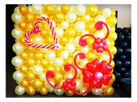 Wine & white round balloon wedding balloon backdrop, with red lovely designs such as heart and flowers.