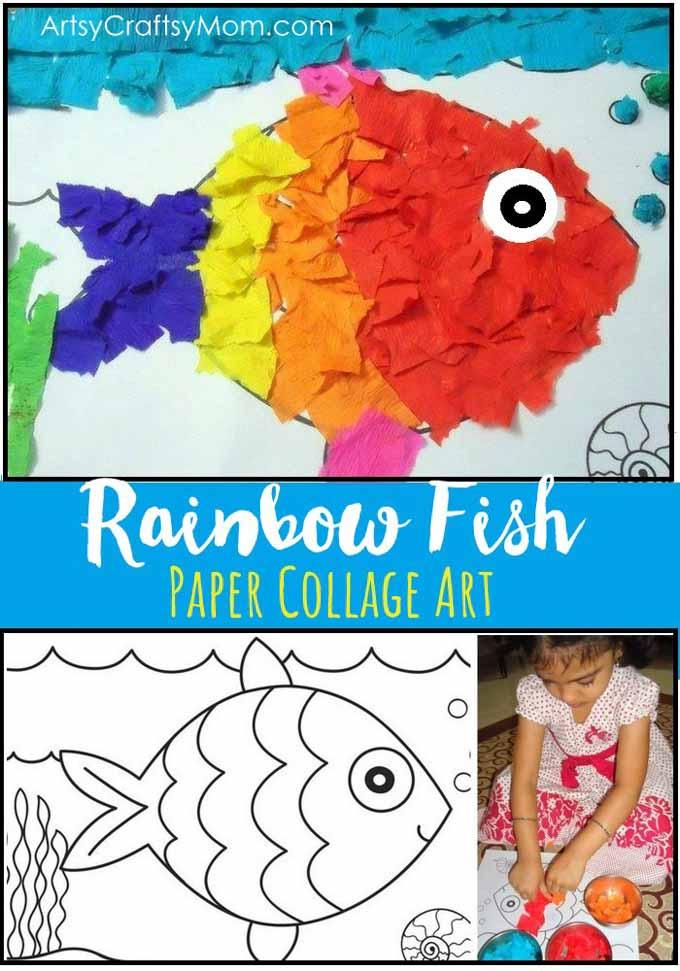 Rainbow Fish Crepe Paper Collage Art Artsy Craftsy Mom
