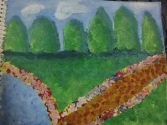 finger paint garden art by kids