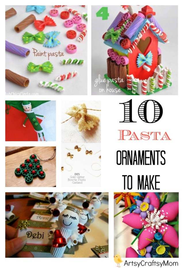 10 easyhandmade ornaments with pasta | 10 Easy Christmas Ornaments for Kids to make with pasta | Pasta art for kids how to make christmas decorations homemade crafts for christmas Coloured pasta art & craft christmas ornaments to make #ChristmasCrafts #Age5 7