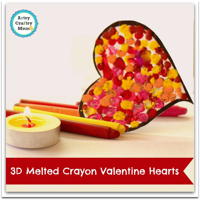 3D Melted Crayon heart Valentine